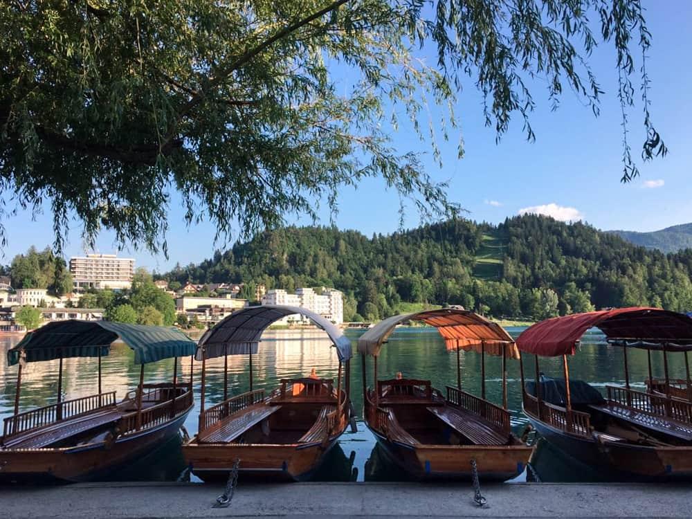 Barcos usados para fazer a travessia até a ilha da Igreja da Assunção parados na borda do lago de Bled.