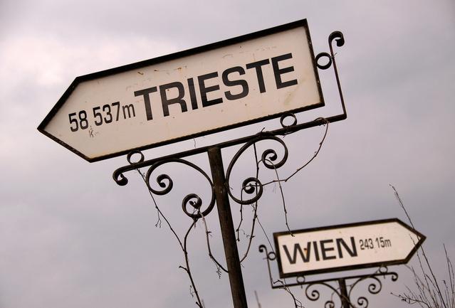 Placas marcando a distância entre Trieste e Viena