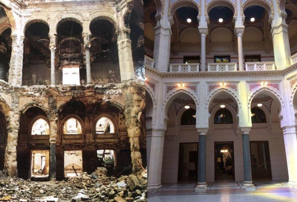 fotos antes e depois da restauração da prefeitura de Sarajevo