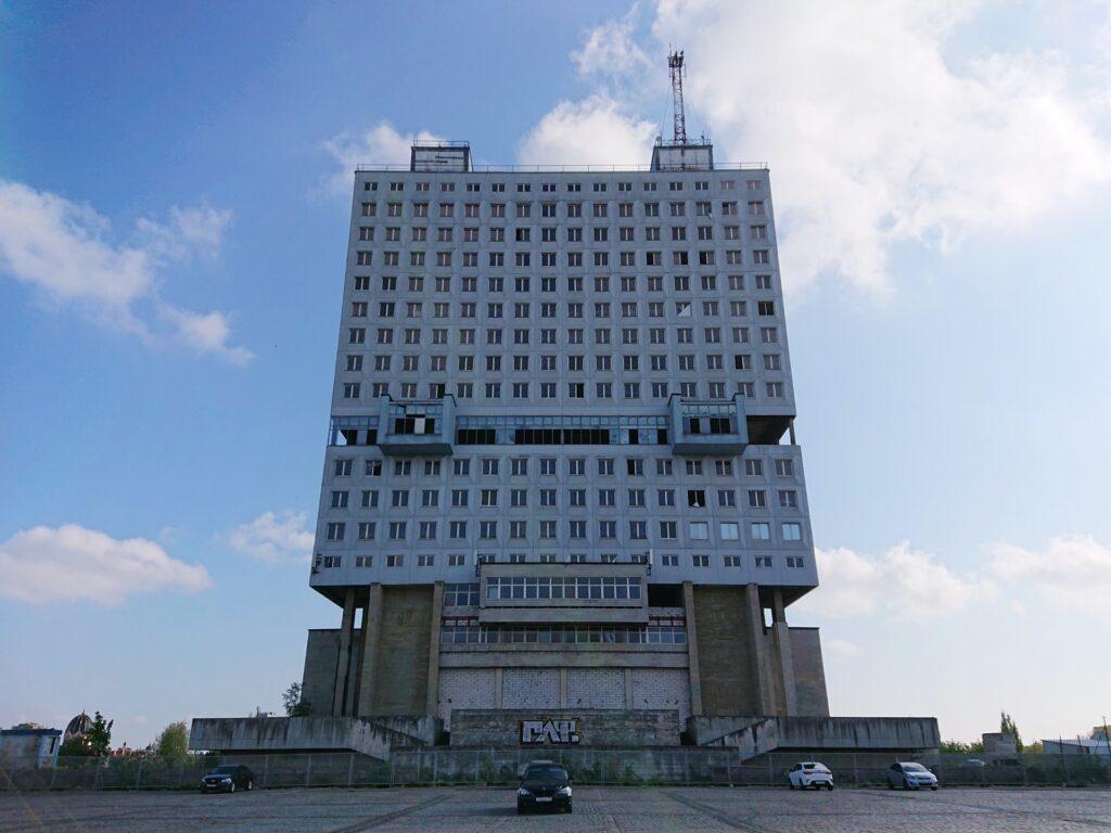 O que visitar em Kaliningrado, arquitetura soviética na House of soviets, um enorme prédio no centro da cidade.