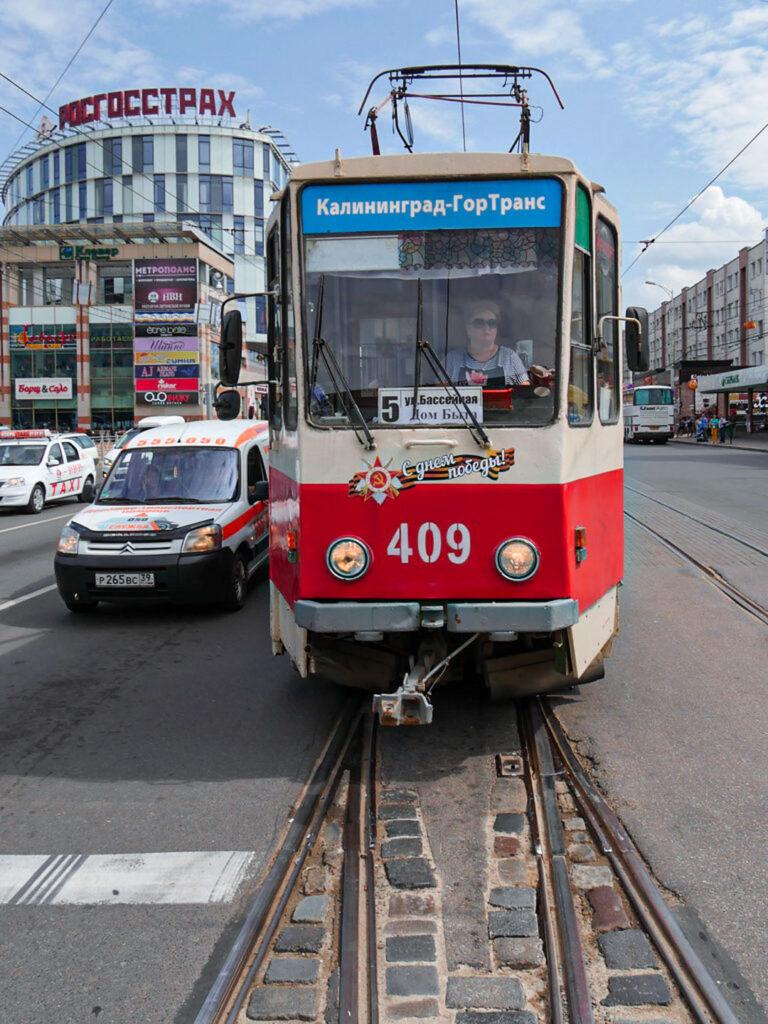 Transporte em Kaliningrado, um tram no centro da cidade