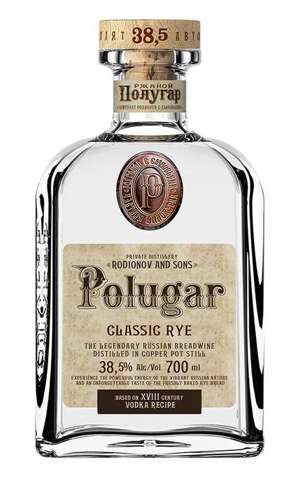 Garrafa de Polugar, bebida russa destilada de pão de centeio